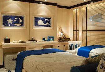 Twin cabin on superyacht Sea Rhapsody