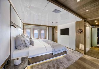 tranquil master suite on board luxury yacht Liquid Sky
