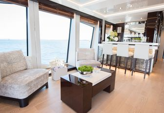 skylouge bar with small seating area aboard luxury yacht JACOZAMI