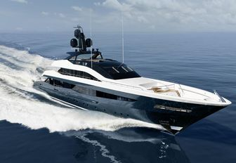 a sporty superyacht cruising the crystalline waters of the mediterranean while on their luxury yacht charter