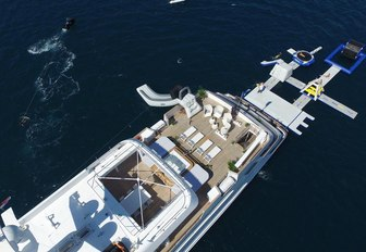 an overhead shot of superyacht showcases her multitude of water toys
