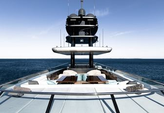 sundeck with sunpads and lounging area on board motor yacht 'Silver Fast'