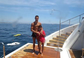 Swim platform of luxury yacht with Cristiano Ronaldo and his son on board