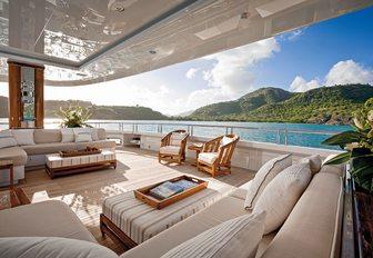 superyacht lounge area on aft decks