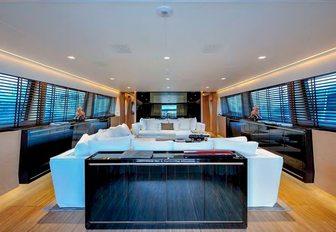 Large main saloon on motor yacht Bertona III