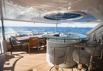 The exterior of luxury yacht SERENITY