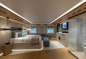 superyacht la datcha owners deck with large bed and windows