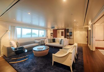 comfortable lounge in main salon of luxury yacht SENSES