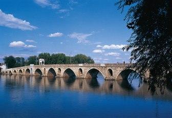 bridge over Tundzha River in Edirne, Turkey
