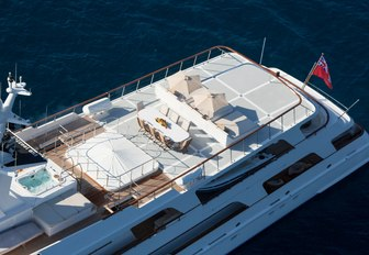 View of sun deck on Illusion I yacht