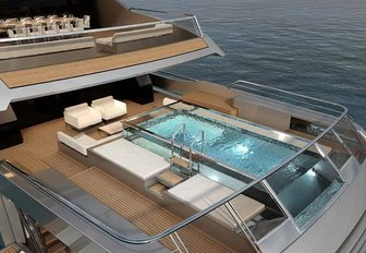 The glass bottomed pool featured on board superyacht Seven Sins