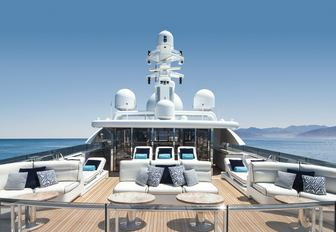 intimate lounging areas on the sundeck aboard charter yacht TITANIA