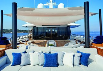 seating areas with shade on the sundeck of superyacht Barbara