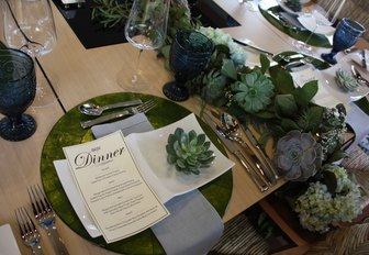 close up of table set for tablescaping contest aboard motor yacht BW at the Newport Charter Show 2017