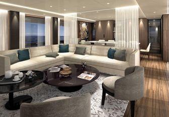 superyacht vista blue salon and formal dining