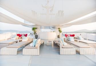 seating area and bar on the sundeck of charter yacht SALUZI