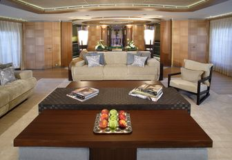 seating area in the skylounge of charter yacht WHEELS