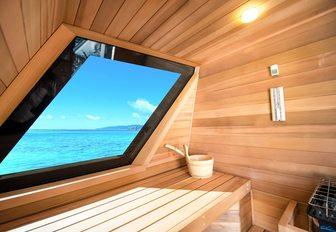 Sauna on board luxury yacht My Senna
