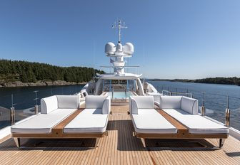 sun loungers on the sundeck of charter yacht LILI