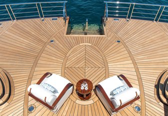 Beach club and deck chairs on board superyacht TIS