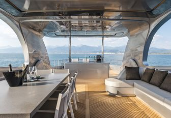 Superyacht SANDS sundeck, with alfresco dining and wet bar