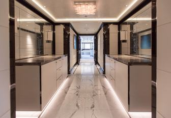 The newly refitted owner's corridor on board luxury yacht AQUILA