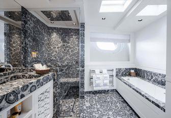 Marble effect en-suite on explorer yacht 'Blue II'