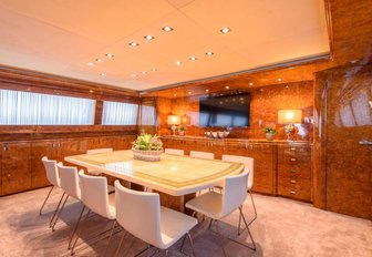 The formal dining interior area of luxury yacht Ocean Glass
