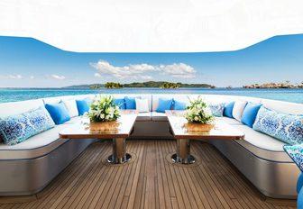 lounge area on the main deck aft of motor yacht My Seanna