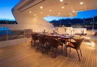 alfresco dining area on the sundeck on board superyacht DIANE