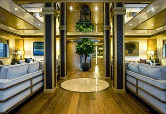 two seating areas in main salon aboard luxury yacht 'Indian Empress'
