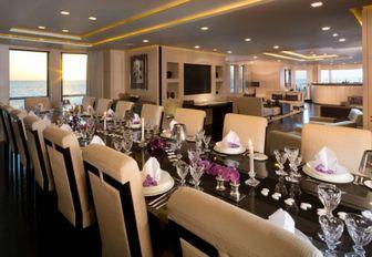 formal dining area in the main salon of luxury yacht SIREN