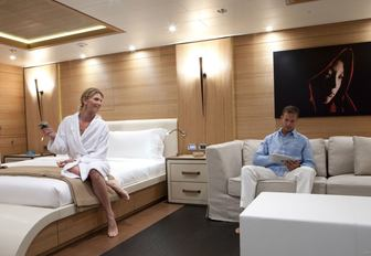 guests relax in the tranquil master suite aboard charter yacht SPIRIT