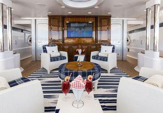beautiful lounge area on main deck aft of motor yacht 'Blue Moon'