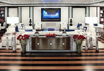 sumptuous seating area in the skylounge aboard charter yacht Alfa Nero