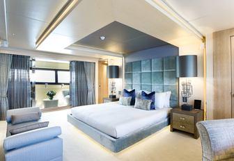 stylish master suite on board charter yacht BLUSH