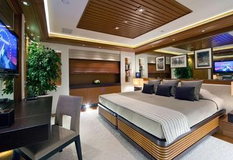 contemporary-styled master suite on board charter yacht Mary-Jean II