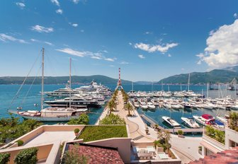 yachts line up in Porto Montenegro in the Bay of Kotor