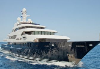 luxury yacht Martha Ann cuts through the water on a luxury yacht charter