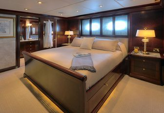 Two-level full-beam master suite on board motor yacht Zoom Zoom Zoom