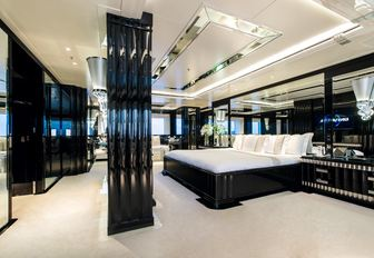 art deco-style master suite on board charter yacht 'Indian Empress'