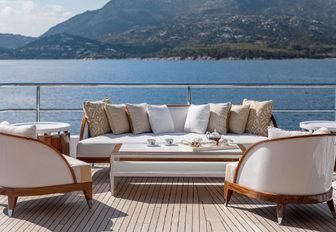 one of many comfortable seating areas on board motor yacht JOY