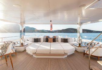 oversized sunpads on board luxury yacht JOY