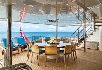 circular alfresco dining table on board motor yacht TRENDING