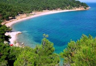 sandy coastline with lush interior along Edirne coastline, Turkey