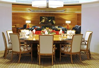 The formal dining space on board superyacht TV