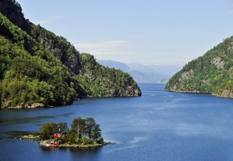 A fjord and small island located in Norway