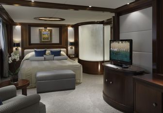 A guest cabin featured on board superyacht Lauren L