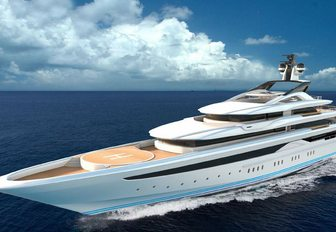 the foredeck of superyacht O'Pari with spacious helipad as it cruises the mediterranean