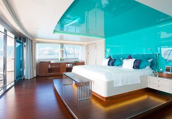 full-beam master suite with panoramic views aboard luxury yacht AQUIJO